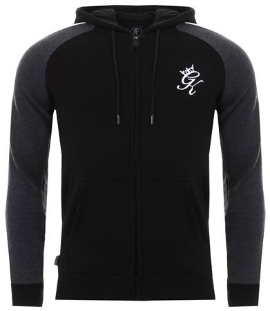 Gym King Black / Charcoal Marl Retro Tracksuit Top  - Click to view a larger image