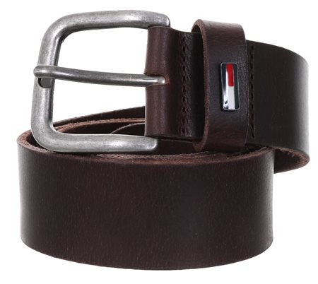 Tommy Jeans Testa Di Moro Denton Flag Logo Leather Belt  - Click to view a larger image