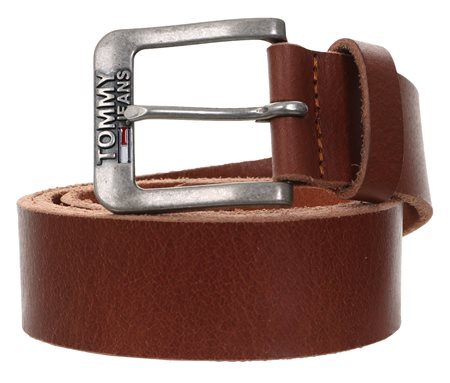 Hilfiger Denim Dark Tan Classic Logo Buckle Leather Belt  - Click to view a larger image