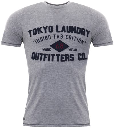 Tokyo Laundry Light Grey Marl Cotton T-Shirt  - Click to view a larger image