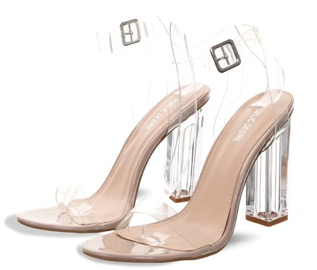 Public Desire Nude Alia Strappy Perspex High Heels  - Click to view a larger image