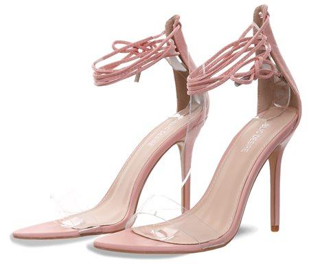 4b8b7563516 Public Desire Pink Pu Stefani Lace Up Heels