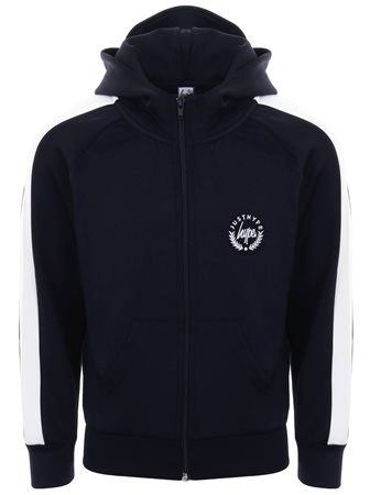 Hype Navy/White Colour Block Crest Track Zip Hoodie  - Click to view a larger image