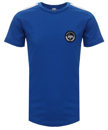 Hype Cobalt Colour Block Sleeve Crest Tee  - Click to view a larger image