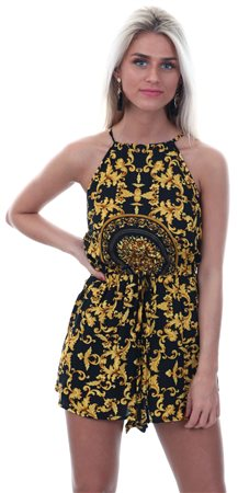 Ax Paris Black/Gold Patterned Tie High Neck Playsuit  - Click to view a larger image