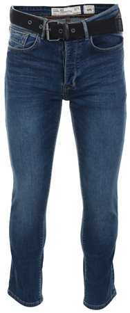 Crosshatch Mid Wash Denim Bancroft Slim Fit Belted Jean  - Click to view a larger image