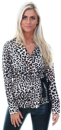 Influence Leopard Print Seld Tie Wrap Blouse  - Click to view a larger image