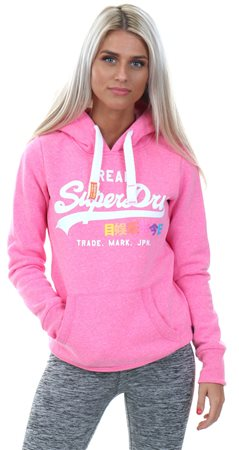 Superdry Fluro Pink Vintage Logo Pop Entry Hoody  - Click to view a larger image