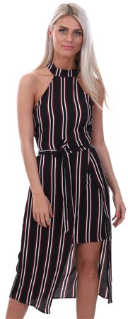 Ax Paris Black Black Striped Cut In Neck Dress  - Click to view a larger image