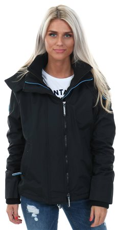 Superdry Black/Blue Mist Pop Zip Hooded Arctic Windcheater  - Click to view a larger image