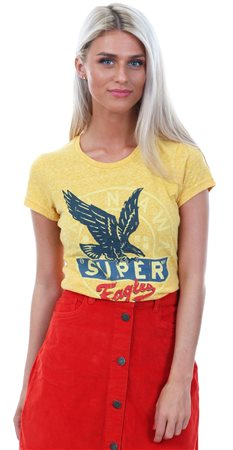 Superdry Golden Ochre Snowy Gasoline Printed T-Shirt  - Click to view a larger image