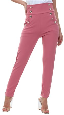 Parisian Dark Rose Pink Military Tapered Button Trouser  - Click to view a larger image