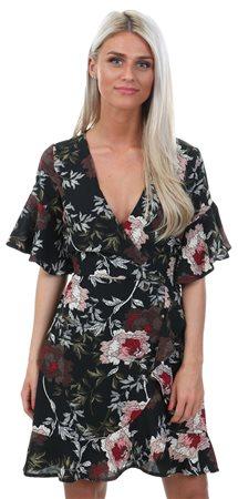 Ax Paris Black Floral Print Wrap Front Fill Dress  - Click to view a larger image