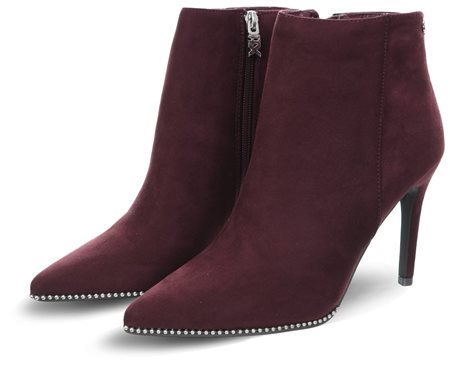 Xti Burgundy Suedette Zip Up Stilleto Boot  - Click to view a larger image