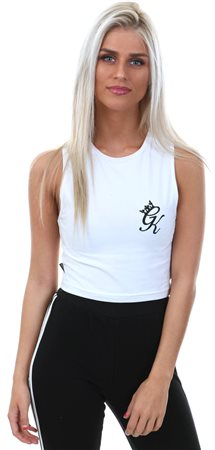 Gym King White Anniston Sleeveless Crop Tee  - Click to view a larger image