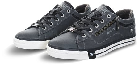Mustang Graphite / Grey Glitter Lace Up Trainer  - Click to view a larger image