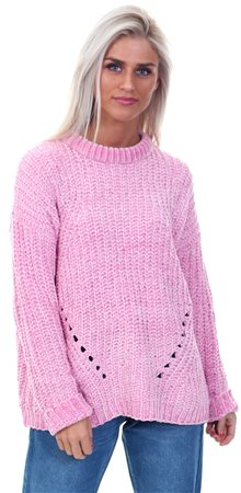 Brave Soul Bubble Gum Pink Chenille Knitted Crew Sweater  - Click to view a larger image