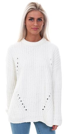 Brave Soul Cream Chenille Knitted Crew Sweater  - Click to view a larger image