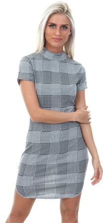 Ax Paris Black Check Bodycon Dress With High Neck  - Click to view a larger image
