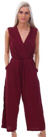 Ax Paris Plum Culotte Tie-Waist Jumpsuit  - Click to view a larger image