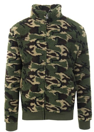 Brave Soul Camo Khaki Fleece Zip Up Jacket  - Click to view a larger image