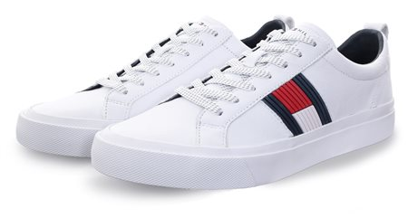 Hilfiger Denim White Flag Detail Leather Low Tops  - Click to view a larger image