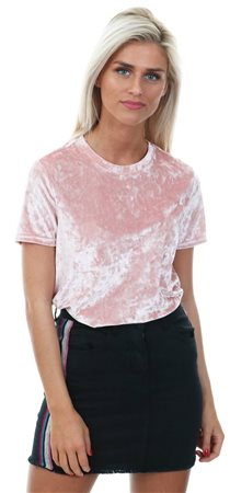 Brave Soul Pink Short Sleeve Velvet T-Shirt  - Click to view a larger image