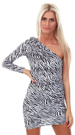 Parisian Black White Zebra Print One Shoulder Asymmetric Bodycon Dress c40a0d6da