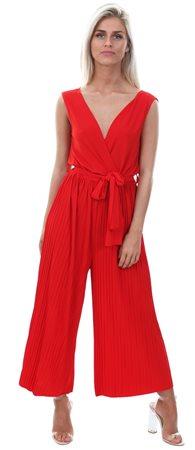 Ax Paris Red Culotte Pleated Tie-Waist Jumpsuit  - Click to view a larger image