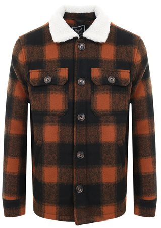 Brave Soul Black/ Orange Check Sherpa Jacket  - Click to view a larger image