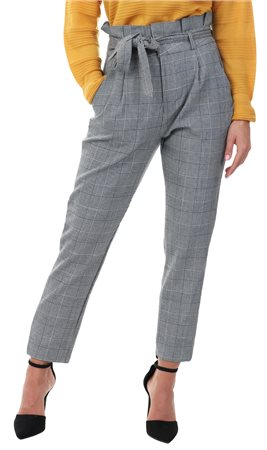 Veromoda Grey / White Check Paperbag Trousers  - Click to view a larger image