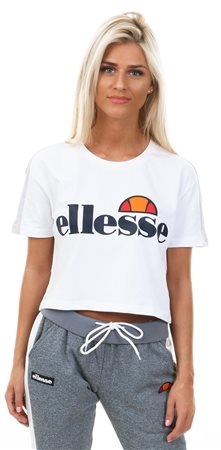 Ellesse White Babia Crop Printed T-Shirt  - Click to view a larger image