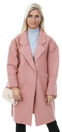 Vila Pink / Ash Rose Wool Long Coatigan  - Click to view a larger image
