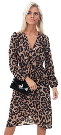Ax Paris Multi Animal Print V-Neck Wrap Midi Dress  - Click to view a larger image