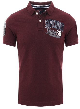 Superdry Boston Burgundy Grit Classic Superstate Polo Shirt  - Click to view a larger image