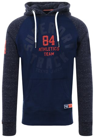 Superdry Denim Blue Grit Track & Field Raglan Hoodie  - Click to view a larger image