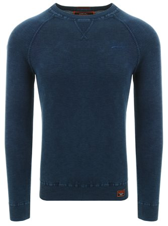 Superdry Washed Dry Storm Navy Garment Dye L.A. Crew Jumper  - Click to view a larger image