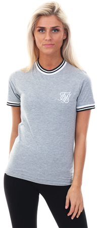 Siksilk Grey Marl Ringer Stripe Rib T-Shirt  - Click to view a larger image