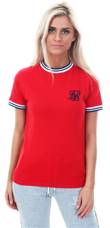 Siksilk Red Retro Ringer Stirpe Rib T-Shirt  - Click to view a larger image