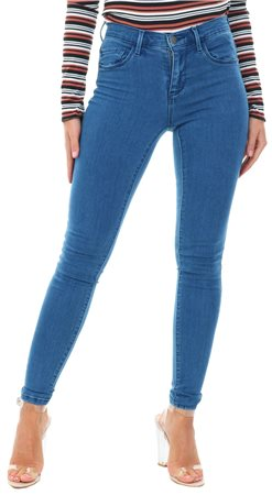 Only Blue / Medium Blue Denim Rain Hw Skinny Fit Jeans  - Click to view a larger image
