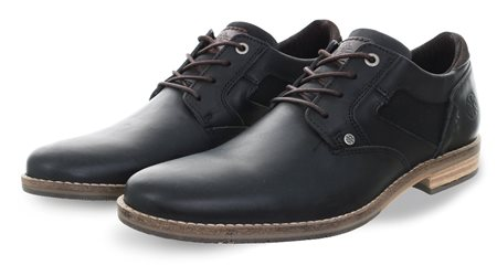 Bull Boxer Black Leather Lace Up Shoe  - Click to view a larger image