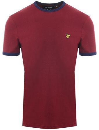 Lyle & Scott Claret Jug / Navy Short Sleeve Ringer T-Shirt  - Click to view a larger image