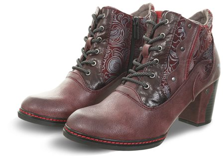 Mustang Bordeaux Lace Up Panel Ankle Boot  - Click to view a larger image