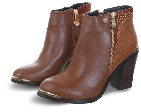db6b664a88c Caramel Lucia One Stud Zip Ankle Boot - 36
