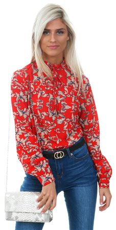 Fashion Union Red High Neck Frill Tie Top  - Click to view a larger image