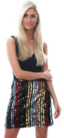Missi Lond Multi Rainbow Sequin Mini Skirt  - Click to view a larger image