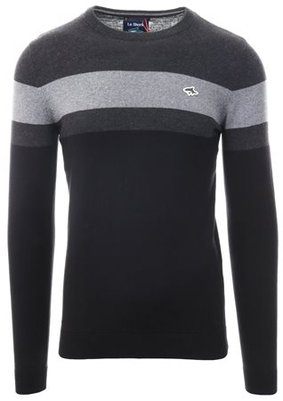 Le Shark Black Stripe Crew Neck Knit Sweater  - Click to view a larger image