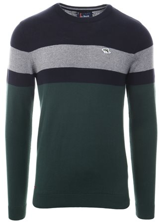 Le Shark Green Stripe Crew Neck Knit Sweater  - Click to view a larger image