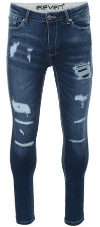 843d1004d2a6 11degrees Mid Blue Denim Ripped And Repaired Skinny Jeans | | Shop ...