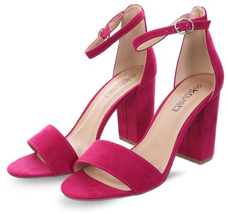 Krush Pink Suede Block Heel  - Click to view a larger image